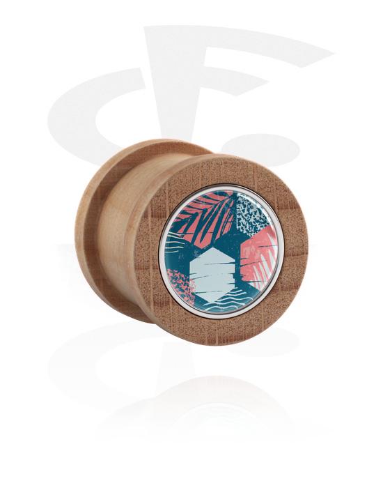 Tunely & plugy, Double Flared Plug s Surf Design, Týkové dřevo