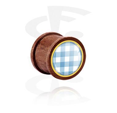 Tunnel & Plugs, Ribbed Plug mit traditionellem Karo-Design, Holz