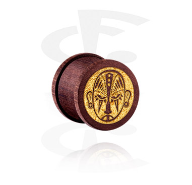 Tunnels & Plugs, Ribbed Plug with Mask Design, Wood
