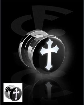LED Plug mit Kreuz-Motiv