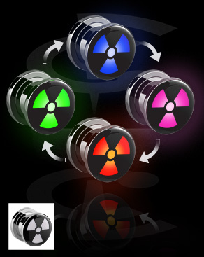LED Plug mit Radioaktiv-Motiv