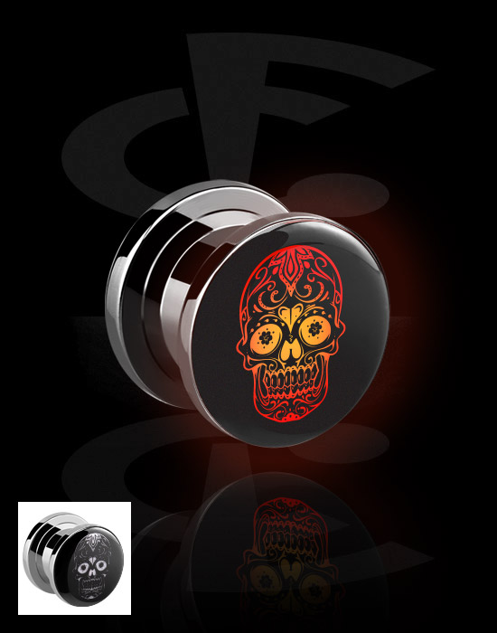 Tunnels & Plugs, LED Tunnel  with Skull Design, Surgical Steel 316L