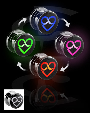 Tunele & plugi, LED Tunnel  z Heart Design, Surgical Steel 316L
