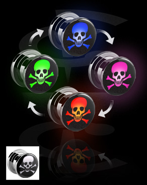 Tunely & plugy, LED Plug with Skull Motive, Surgical Steel 316L