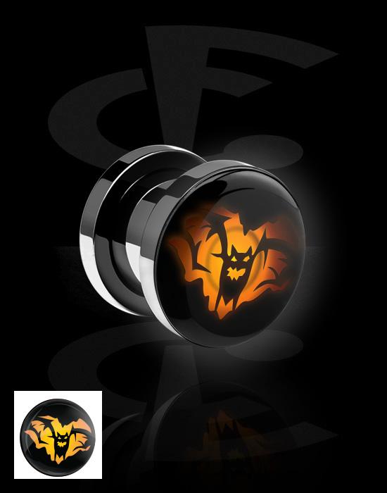 Tunnel & Plugs, LED Plug mit Halloween-Design, Chirurgenstahl 316L