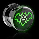 Tunnelit & plugit, LED Plug kanssa Neon Halloween Design, Surgical Steel 316L