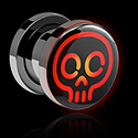 Tunnels & Plugs, LED Plug with Neon Halloween Design, Surgical Steel 316L