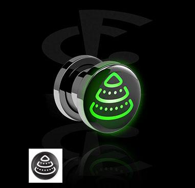 Tunnel & Plugs, Schwarzer Tunnel mit Neon Weihnachts-Design, Acryl