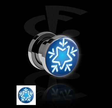 Tunnels & Plugs, Tunnel with Neon Snowflake Design, Acrylic