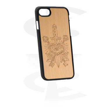 Etui na telefony, Mobile Case z Wooden Inlay i Lasered Wood Inlay, Plastic, Elm Wood