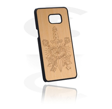 Telefoonhoesjes, Telefoonhoesje met Houten inleg en Lasered Wood Inlay, Kunststof, Hout