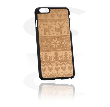 Coque pour portable avec incrustation en bois et gravure laser
