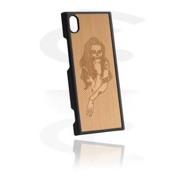 Cover per cellulare, Cover per cellulare con inserto in legno e incisione laser, Plastica, Olmo