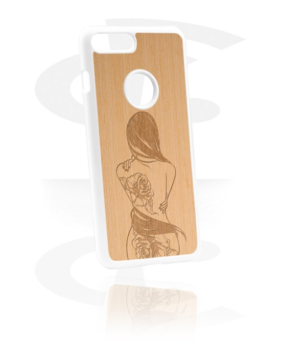 Phone cases, Mobile Case with Wooden Inlay and Laser Engraving, Plastic ,  Elm Wood