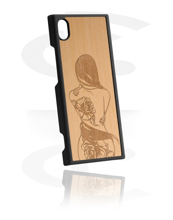 Handyhüllen, Handyhülle mit Holz-Inlay und Laser-Inlay, Kunststoff, Ulmenholz