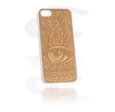 Mobile Case with Wooden Inlay and Lasered Wood Inlay