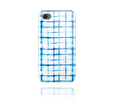 Mobile Case s blue batik tie-dye design