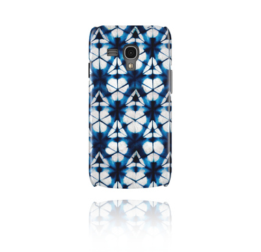 Mobile Case with blue batik tie-dye design
