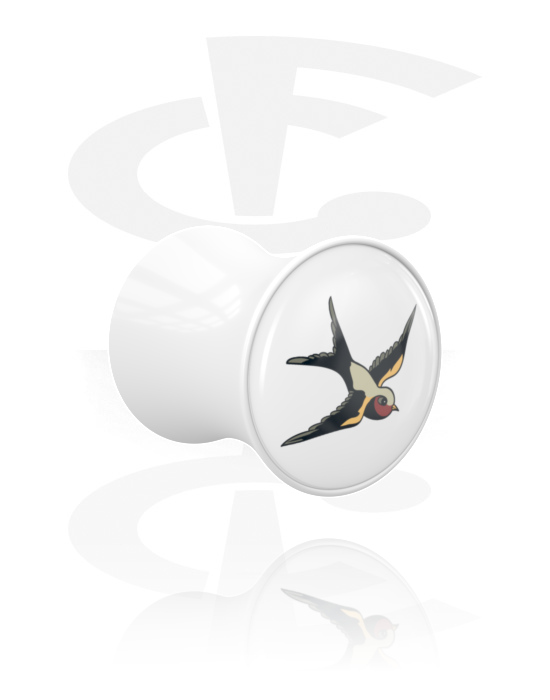 Tunely & plugy, Double Flared Plug s Bird Design, Akryl