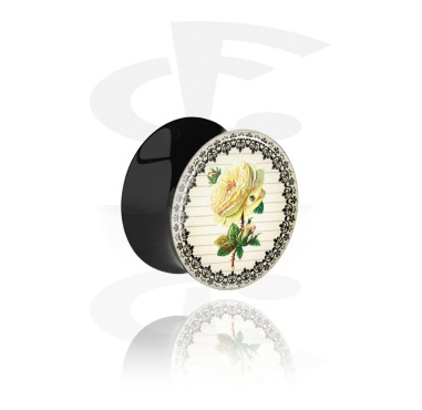 Tunnels & Plugs, Double Flared Plug with Vintage Flower Design, Acrylic