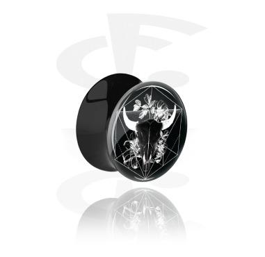 Tunnels & Plugs, Black Double Flared Plug, Acrylic