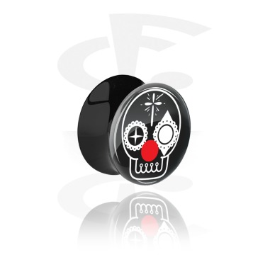 Tunnels & Plugs, Double Flared Plug with Skull Design, Acrylic