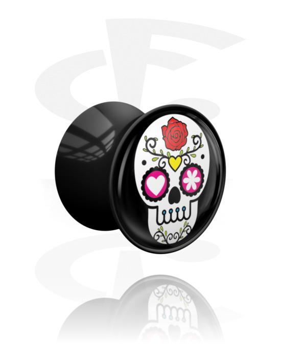 Tunele & plugi, Double Flared Plug z Skull Design, Akryl