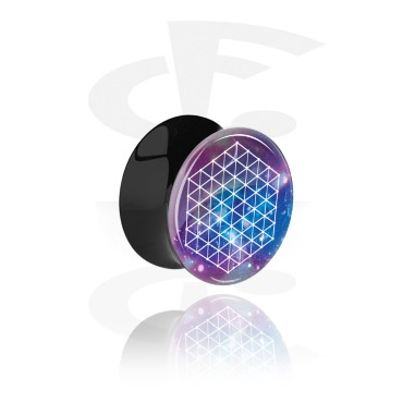 Tunnels & Plugs, Double Flared Plug with Galaxy Design, Acrylic