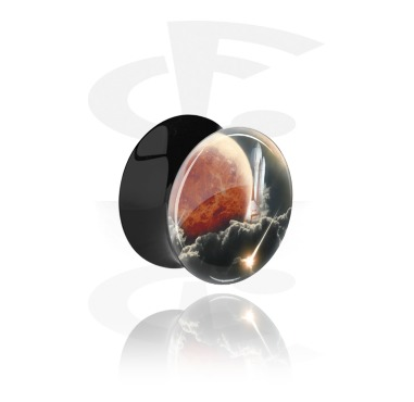 Tunnels & Plugs, Double Flared Plug with Mars Design, Acrylic