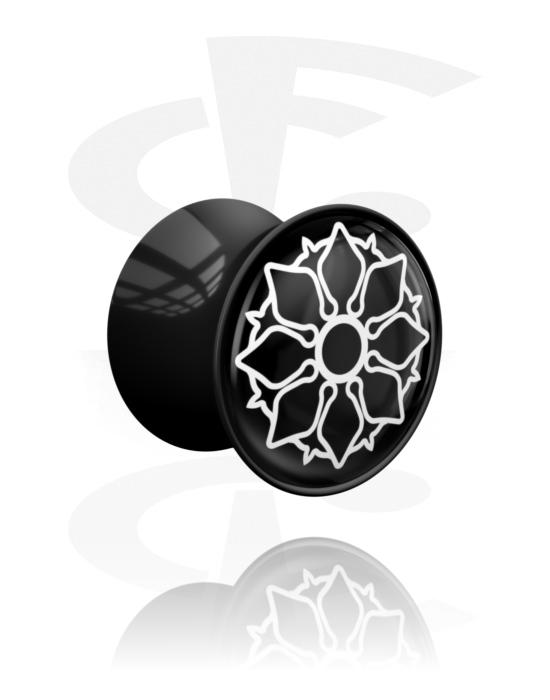 Tunnel & Plug, Double flared plug con motivo asiatico, Acrilico