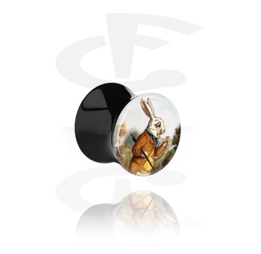 Tunnels & Plugs, Double Flared Plug with Vintage Fairy Design, Acrylic