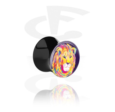 Tunnels & Plugs, Double Flared Plug with Neon Lion Design, Acrylic
