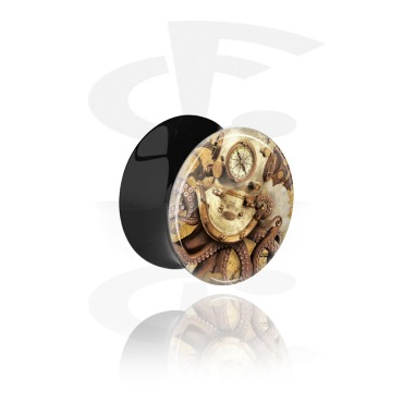 Tunnels & Plugs, Double Flared Plug with Vintage Steampunk Design, Acrylic