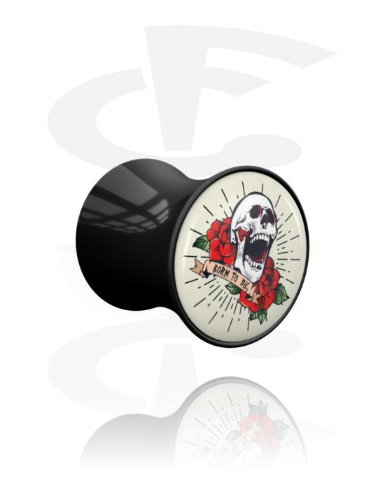 Tunele & plugi, Double Flared Plug z Vintage Tattoo Design, Akryl