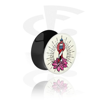 Tunnels & Plugs, Double Flared Plug with Vintage Tattoo Design, Acrylic
