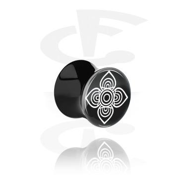 Tunnels & Plugs, Double Flared Plug with geometric Mandala Design, Acrylic