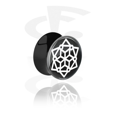 Tunnels & Plugs, Double Flared Plug with geometric Mandala Design, Acrylic