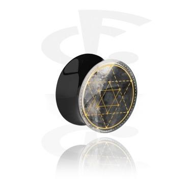 Tunnels & Plugs, Double Flared Plug with geometric Moon Design, Acrylic