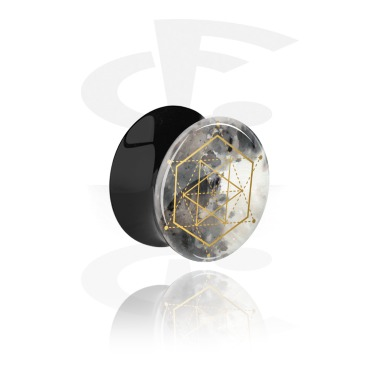 Tunnels & Plugs, Double Flared Plug with geometric Moon Design, Acrylic