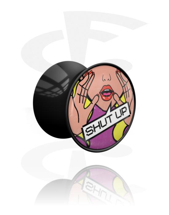 Tunnel & Plug, Double flared plug con stampa comic, Acrilico