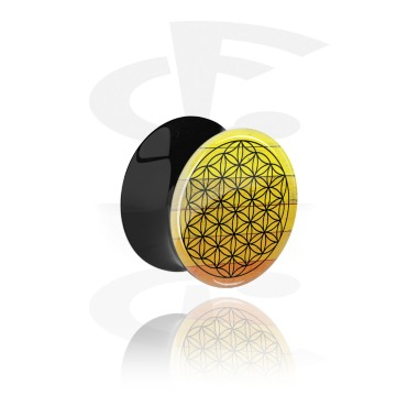 Tunnels & Plugs, Black Double Flared Plug with Colored Geometric Design, Acrylic