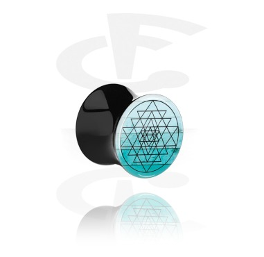 Tunnels & Plugs, Black Double Flared Plug with Coloured Geometric Design, Acrylic