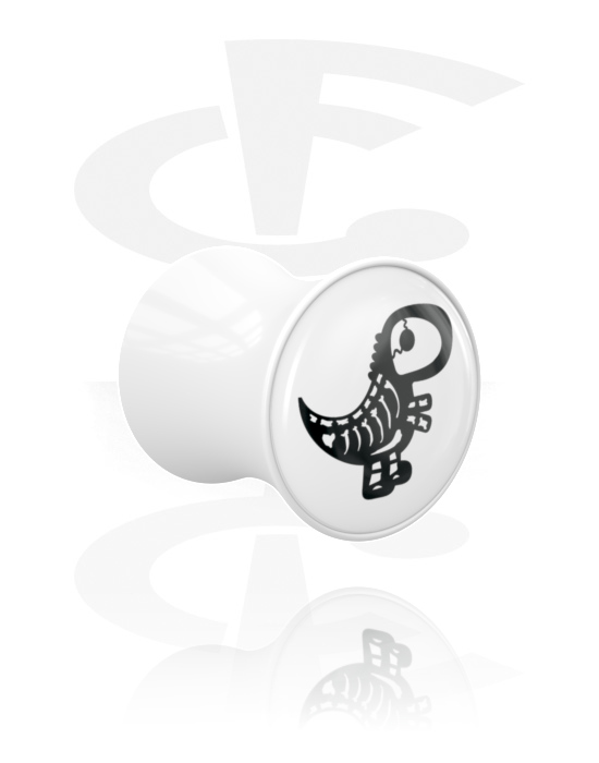 Tunnels & Plugs, Double Flared Plug with cute skeleton design, Acrylic