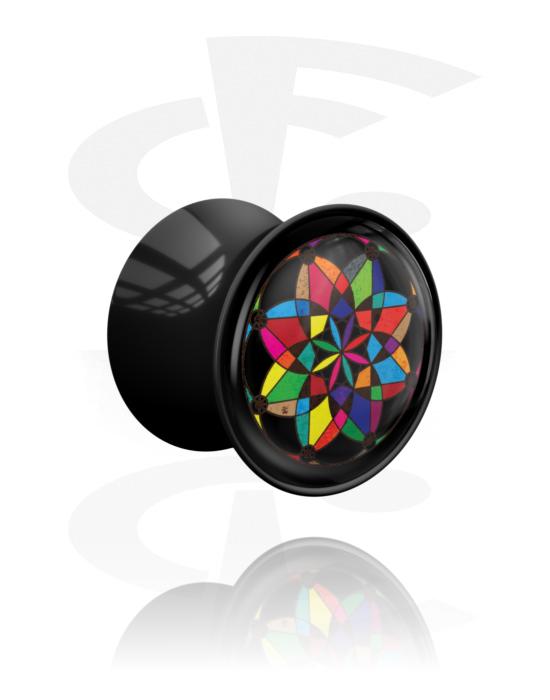 Tunnels & Plugs, Double Flared Plug with Kaleidoscope Design, Acrylic