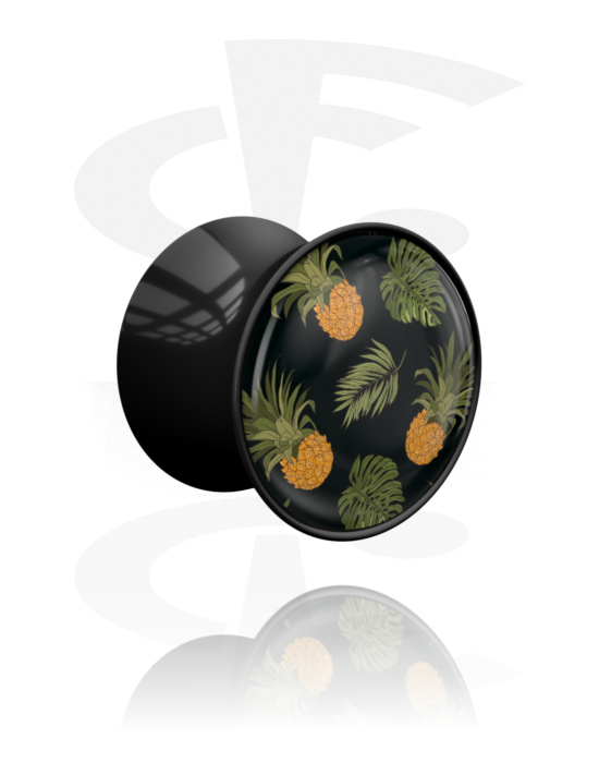 Tunnels & Plugs, Double Flared Plug with Crazy Exotics Design, Acrylic