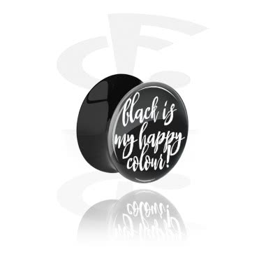 """Tunnels & Plugs, Black Double Flared Plug with """"Black is my happy colour"""" Imprint, Acrylic"""