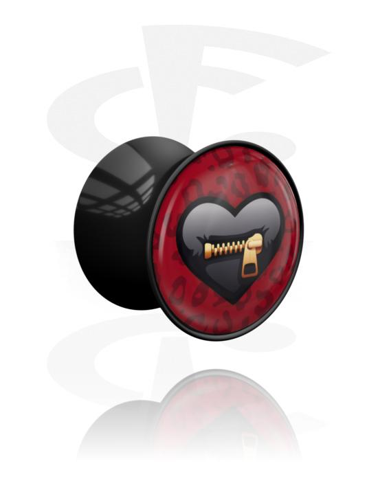 "Tunnel & Plug, Double flared plug con motivo ""Erotic"" , Acrilico"