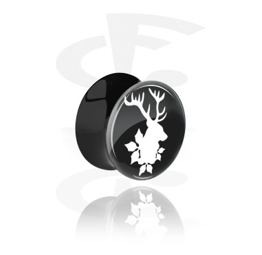Tunnels & Plugs, Black Double Flared Plug with Winter Stag Design, Acrylic