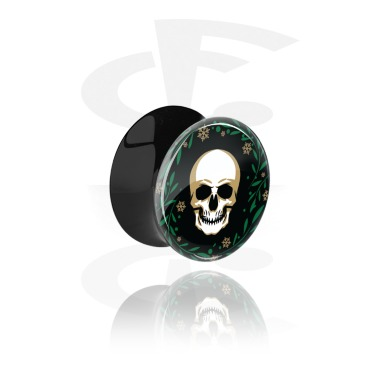 Tunnels & Plugs, Black Double Flared Plug with Winter Skull Design, Acrylic