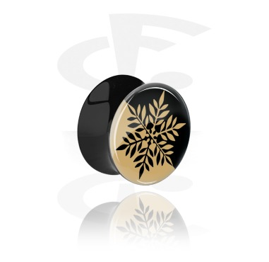 Tunnels & Plugs, Black Double Flared Plug with Snowflake Design, Acrylic